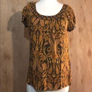 Apt 9 orange &brown designed blouse